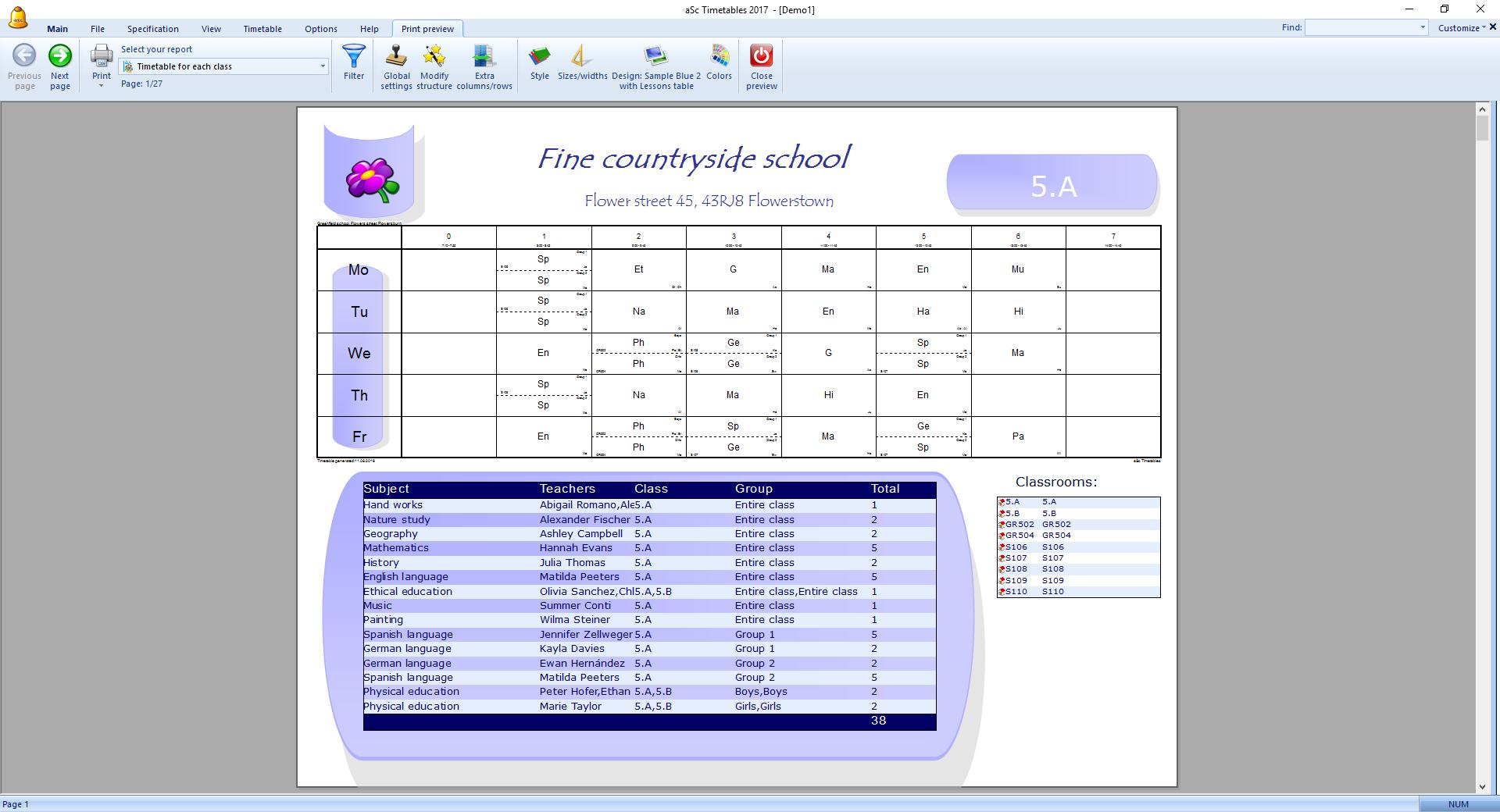 how to apply a print design asc timetables