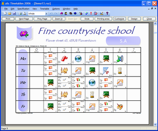Print-out designs - aSc Timetables