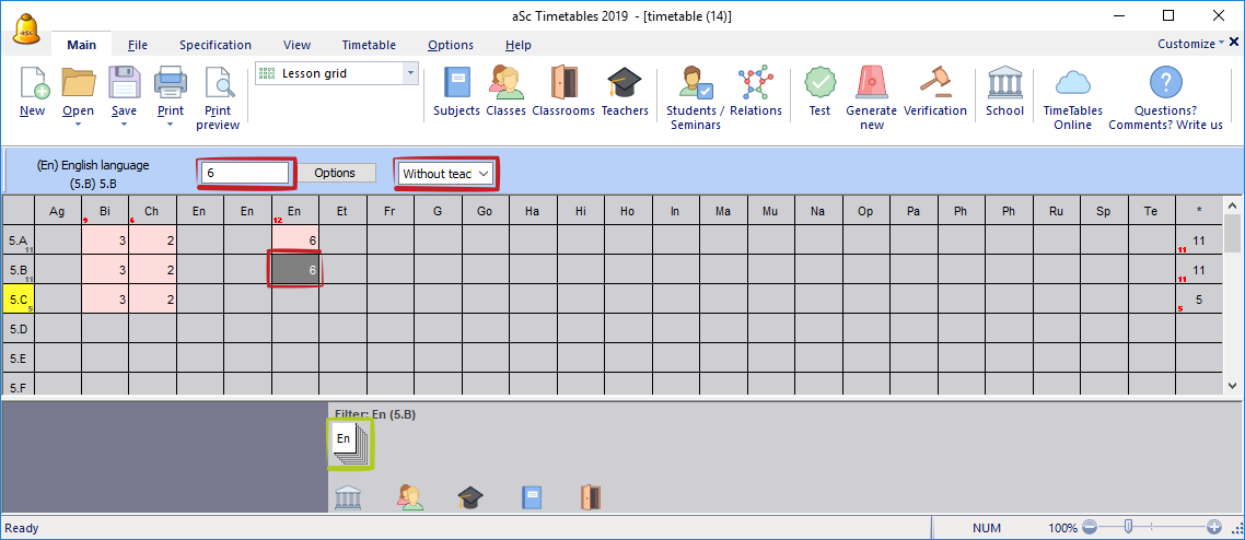 Adding a lesson in lesson grid - aSc Timetables